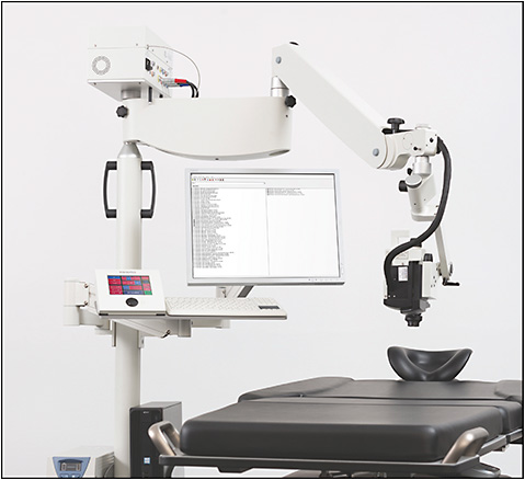 Figure 1. The FLEX module is the standard Heidelberg Spectralis that is installed on a surgical boom arm, which allows for OCT and angiographic imaging of supine subjects. The Spectralis with FLEX module is available for sale in the United States for investigational use only.