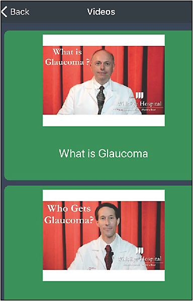 Figure 2. Screen capture from Wills Eye Hospital's Glaucoma From Wills Eye app.